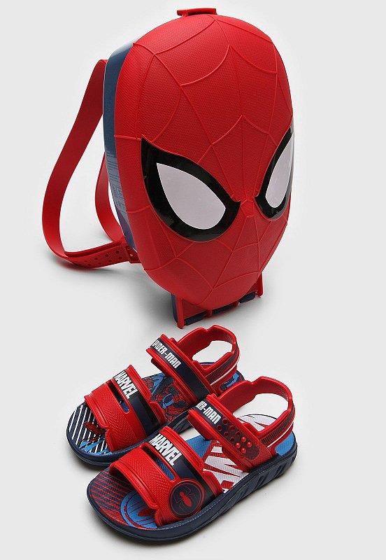 Sandália Infantil Grendene Marvel Pack c/ Mochila - Azul e Vermelho