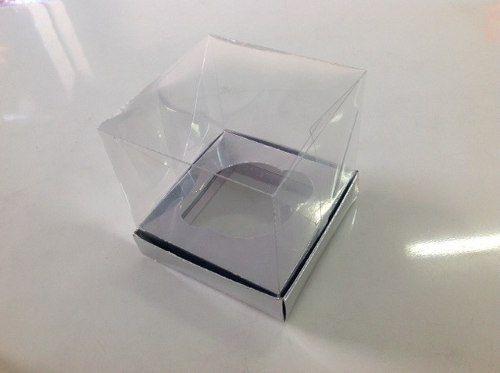 Caixa de Cupcake com a Base de Papel e Tampa de Acetato 10 x 10 x 10 com 10 unidades