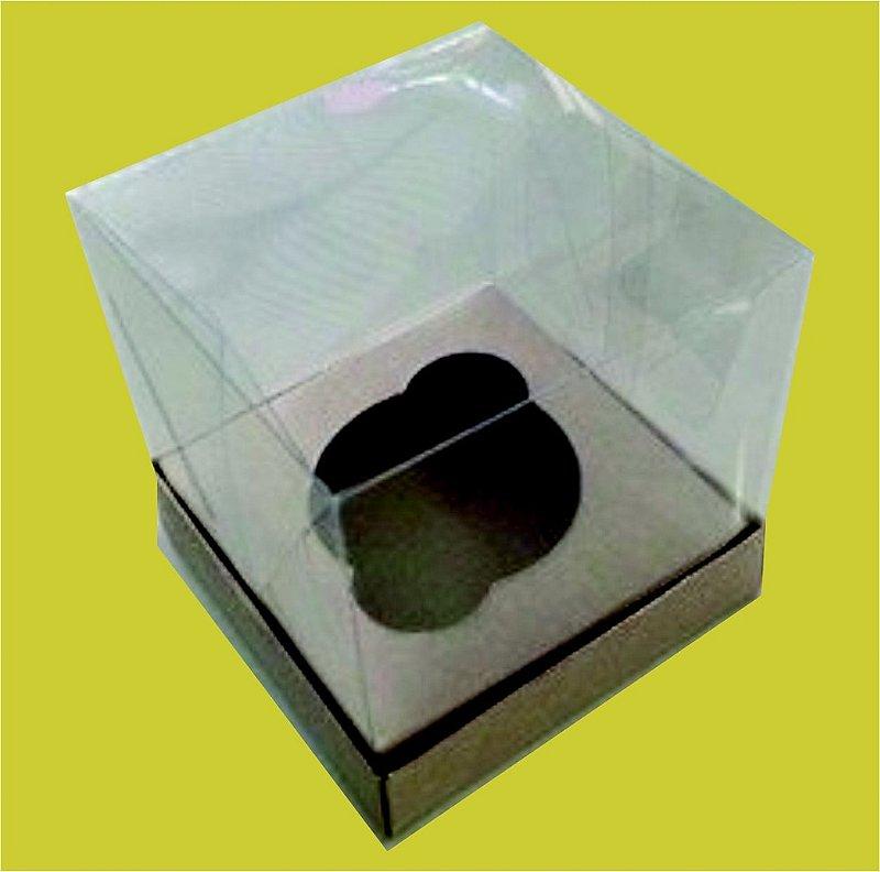 Caixa de Cupcake com a Base de Papel e Tampa de Acetato 10 x 10 x 10 com 100 unidades