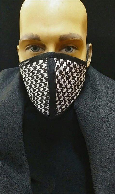Máscara Masculina de Proteção De Tecido Reutilizável Lavável . _Clássico Duo Preto e Branco