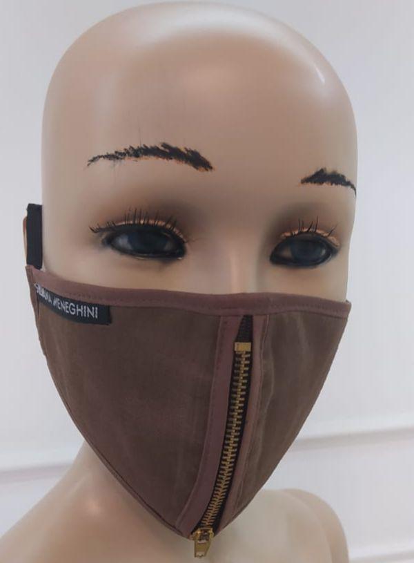 Máscara Feminina De Proteção De Tecido Reutilizável Com Zíper