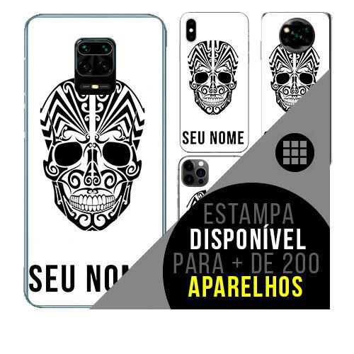 Capa de celular personalizada com nome - todos aparelhos - caveira