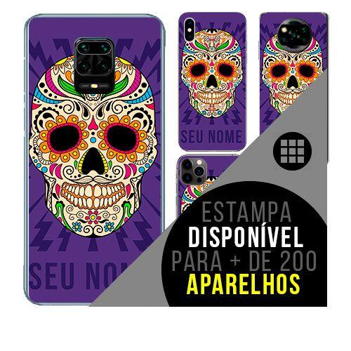 Capa de celular personalizada com nome - todos aparelhos - caveira mexicana