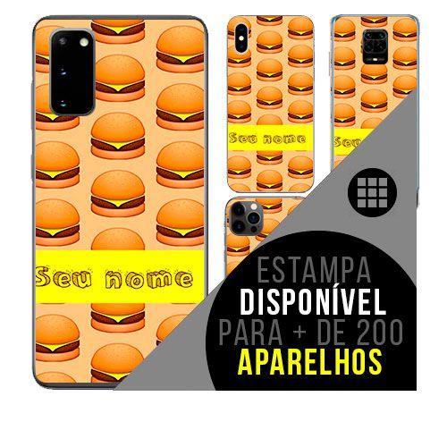 Capa de celular personalizada com nome - todos aparelhos - Comida: Hamburger