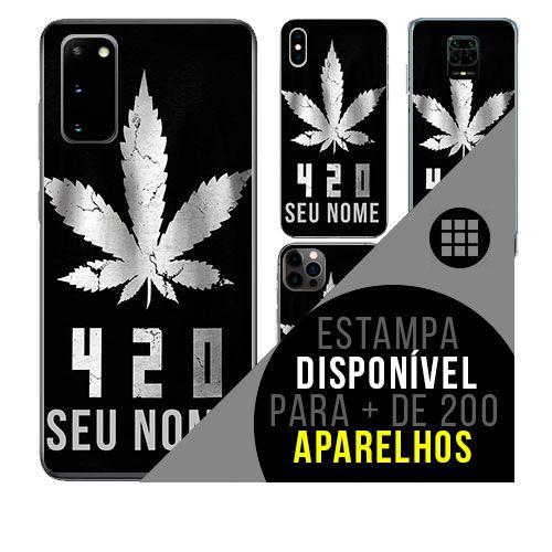 Capa de celular personalizada com nome - Maconha cannabis 4 e 20