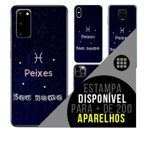 Capa de celular personalizada com nome - Signo Peixes- astrologia