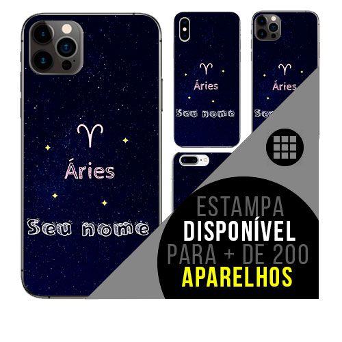 Capa de celular personalizada com nome - Signo Áries - astrologia
