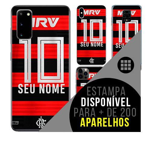 Capa de celular camisa de time com nome personalizável - Flamengo
