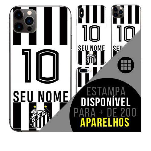 Capa de celular camisa de time com nome personalizável - Santos