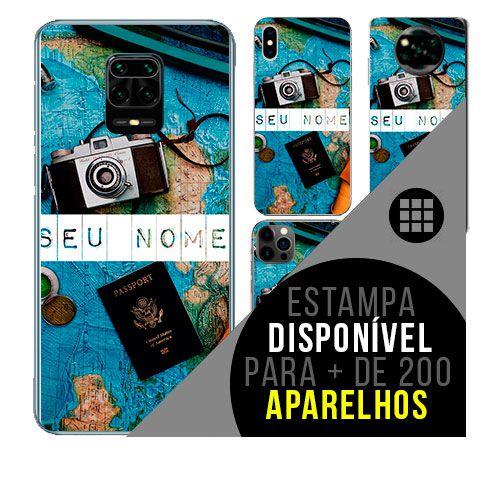 Capa de celular personalizada com nome - todos aparelhos - viagem trip - passaporte