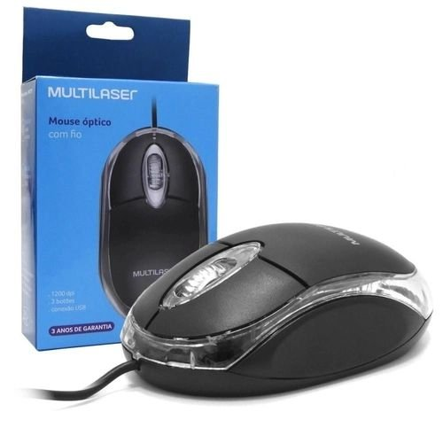 Mouse com fio USB Multilaser