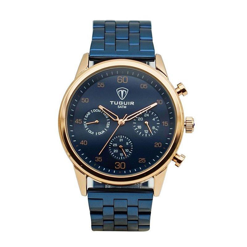 eb7165b6e0b Relógio Masculino Tuguir Analógico 5327G Azul e Rose - ROMAPLAC