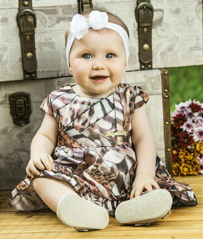 Vestido para bebês meninas, feito em chiffon e flamê. Tamanhos: P ao G.
