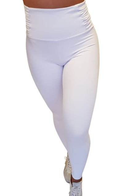 Calça Legging Borboleta Branca Cós Alto