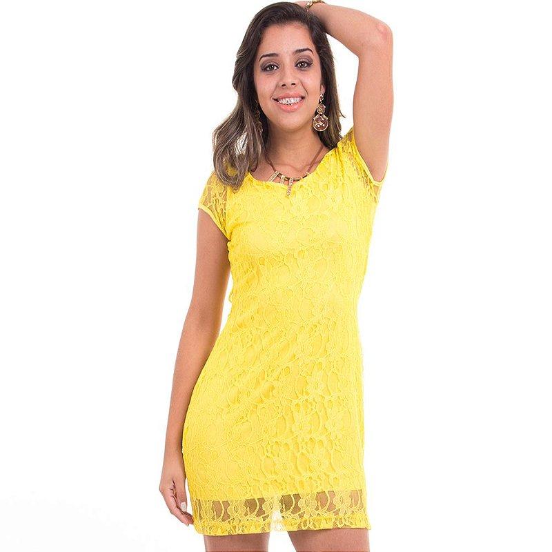 Vestido Manga Curta de Renda Dayana B'Bonnie Amarelo