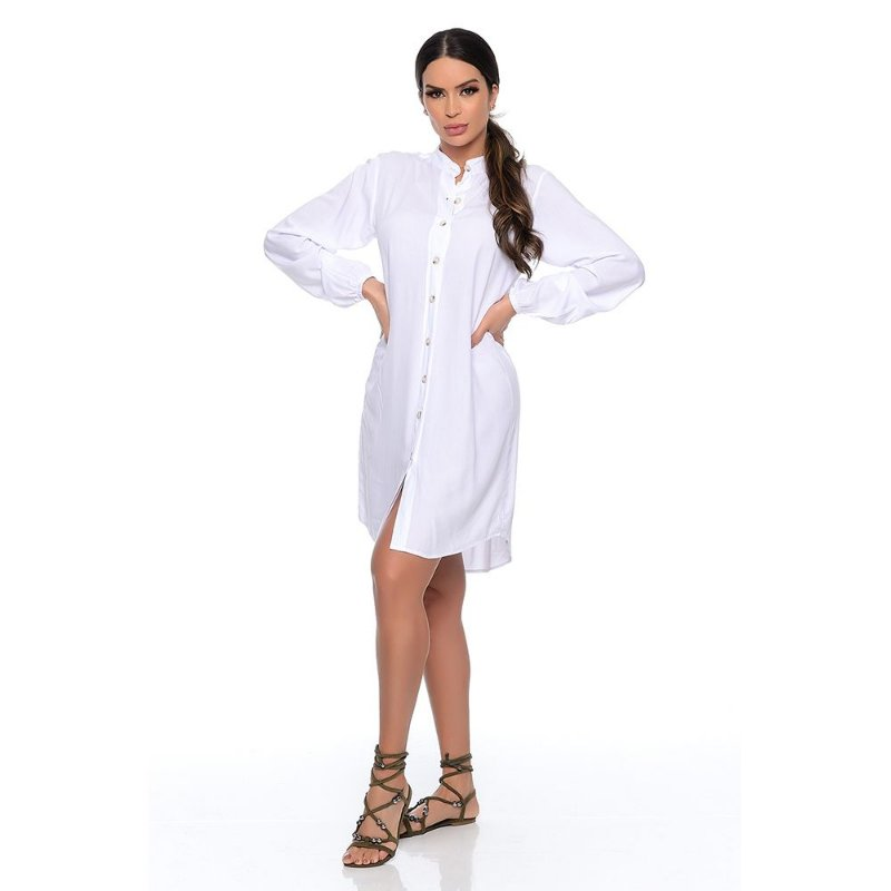 Vestido Chemise Curto Botões Manga Longa B'Bonnie Branco