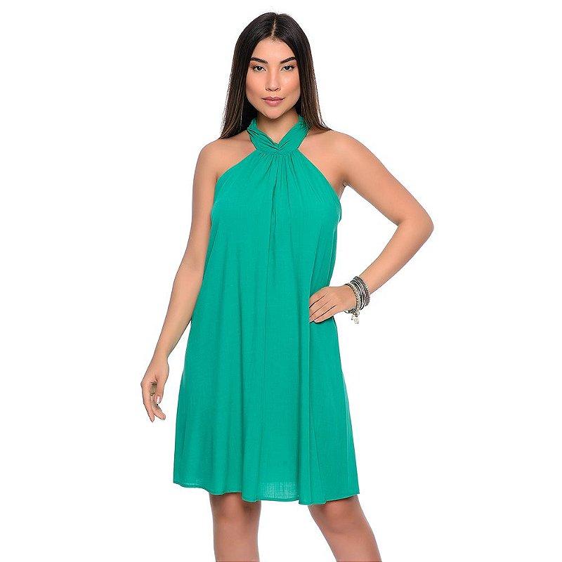 Vestido Curto Trapézio Cava Americana B'Bonnie Cristine Verde Bandeira