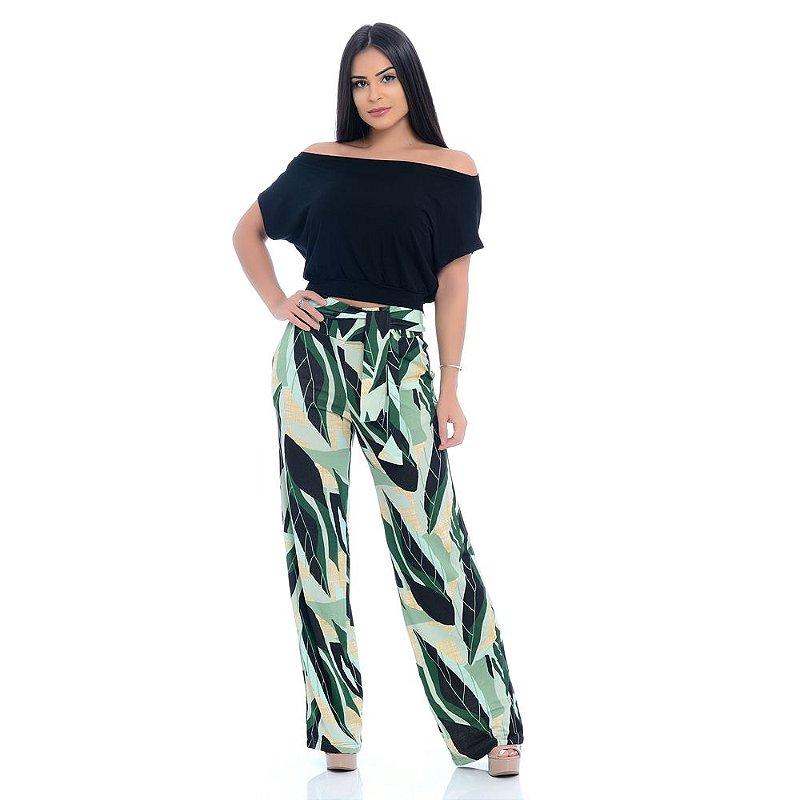 Calça Pantalona Cós largo Bolsos Laterais com Amarração B'Bonnie Sheila Floral Verde