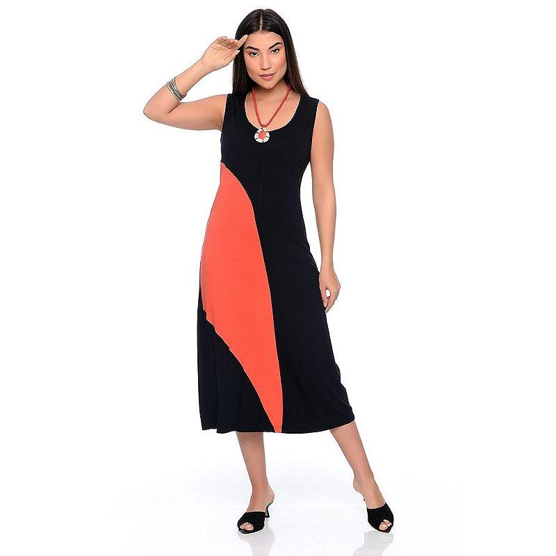 Vestido Midi Alça Larga Regata com Recorte B'Bonnie Lady Preto/Coral