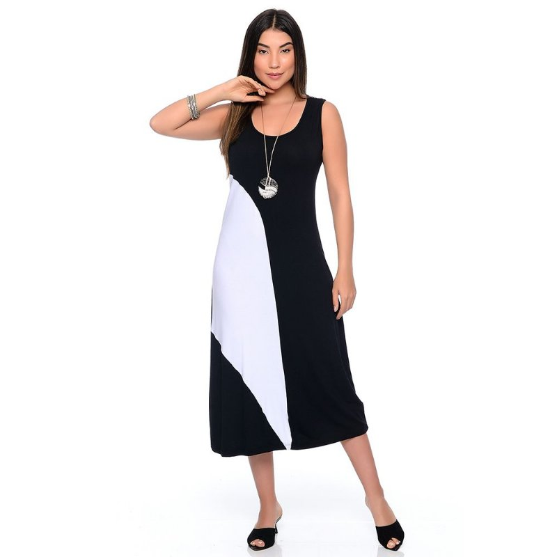 Vestido Midi Alça Larga Regata com Recorte B'Bonnie Lady Preto/Branco