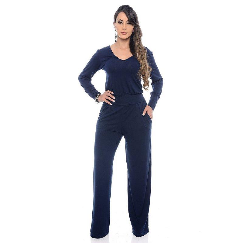Macacão Pantalona Manga Longa Cós na Cintura B'Bonnie Azul Marinho