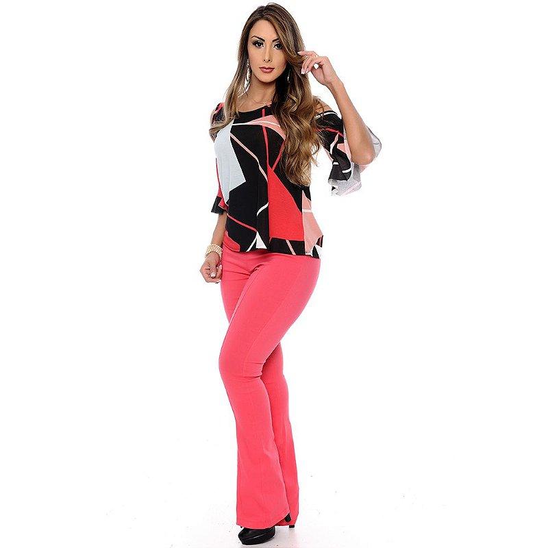 Calça Flare Cós na Cintura B'Bonnie Pink