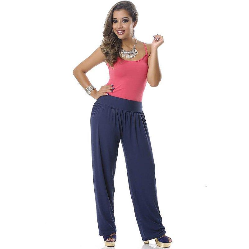 Calça Pantalona Cós Largo Bolsos Laterais e Pregas B'Bonnie Azul Marinho