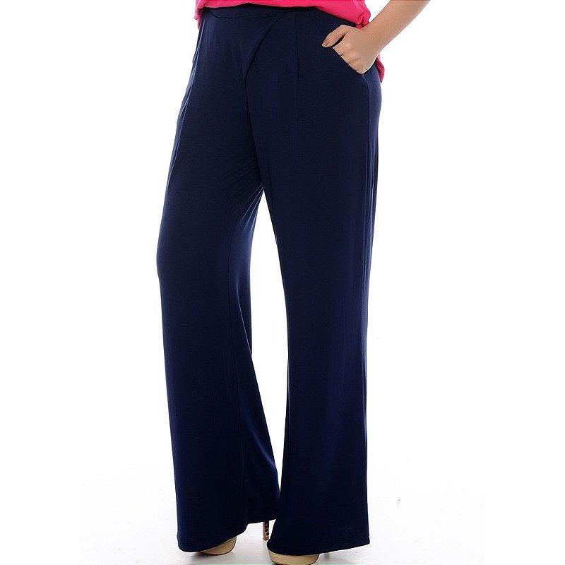 Calça Pantalona Bolsos Laterais e Detalhe Frontal B'Bonnie Azul Marinho