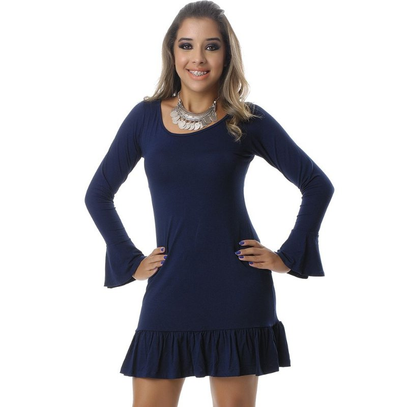 Vestido Curto Manga Longa e Barra com Babados B'Bonnie Azul Marinho