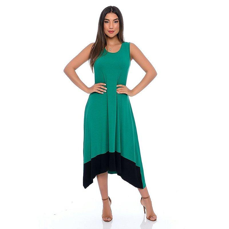 Vestido Midi com Pontas Barra Sem Mangas B'Bonnie Verde