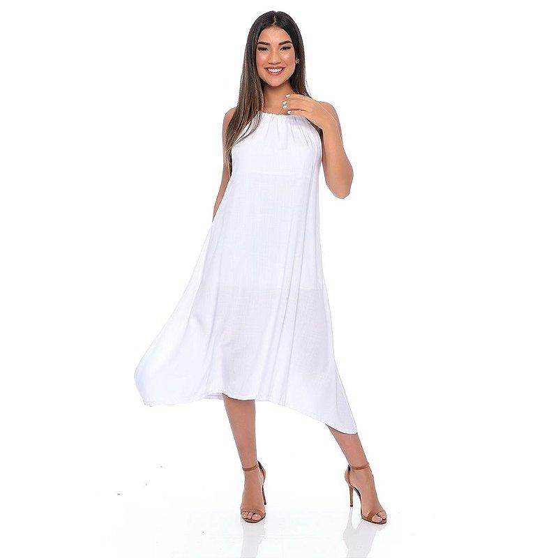 Vestido Midi Evasê Alça Regulável Pontas Alongadas Pontas B'Bonnie Branco