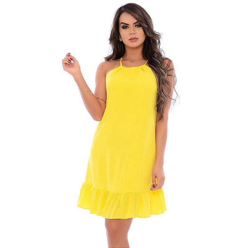 Vestido Curto Cava Americana Alças e Badados na Barra B'Bonnie Amarelo