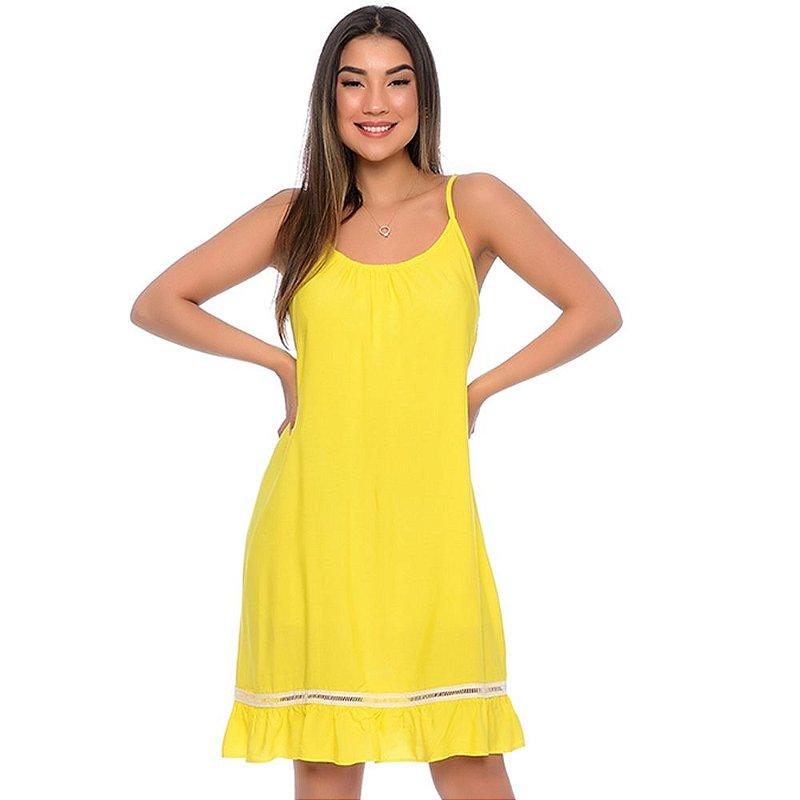 Vestido Curto Alças Reguláveis com Babado Barra B'Bonnie Amarelo