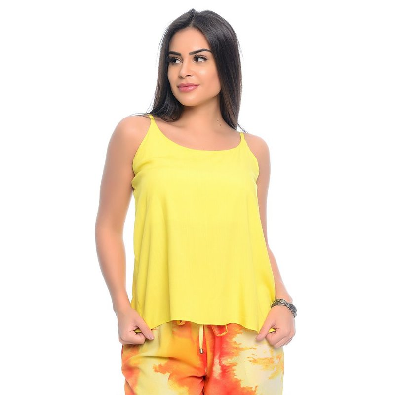 Blusa Regata Alças Reguláveis Viscose B'Bonnie Amarelo