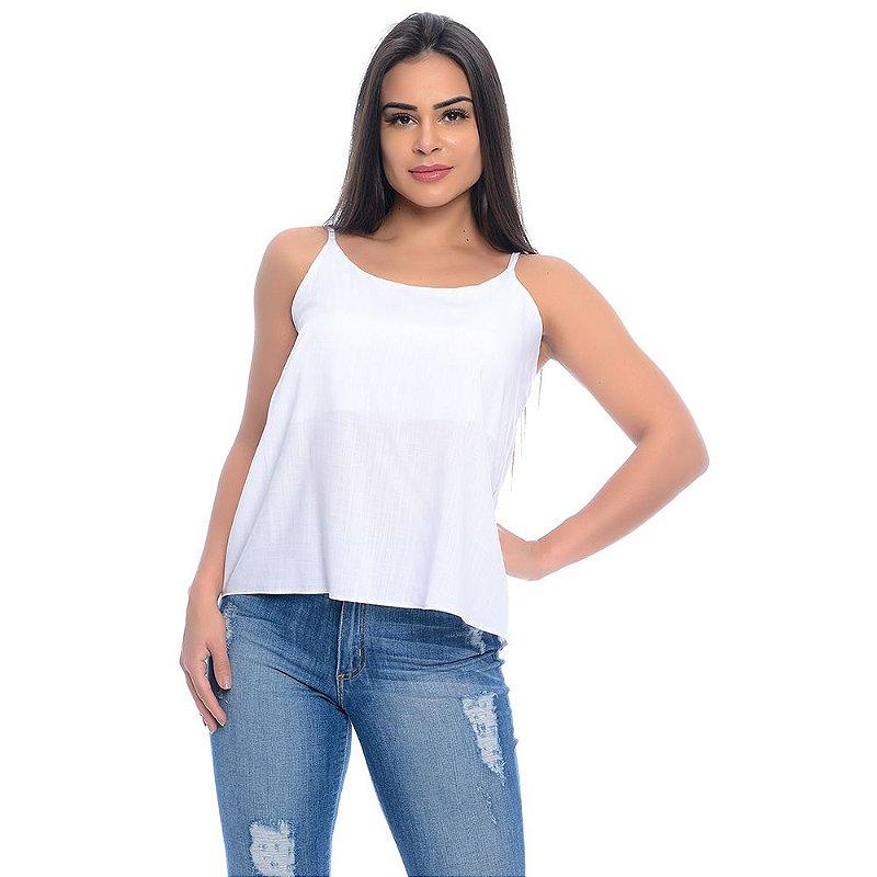 Blusa Regata Alças Reguláveis Viscose B'Bonnie Branco