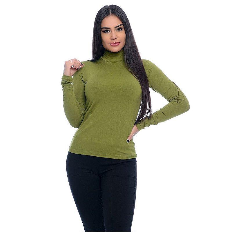 Blusa Cacharrel Manga Longa B'Bonnie Verde Oliva