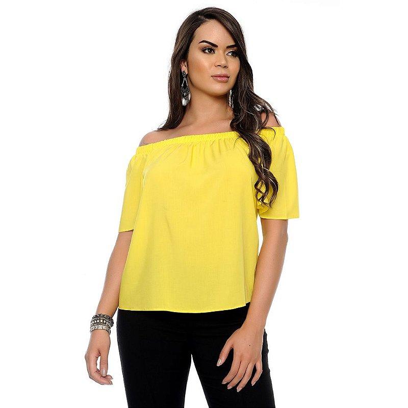Blusa Ciganinha Manga Curta B'Bonnie Amarelo