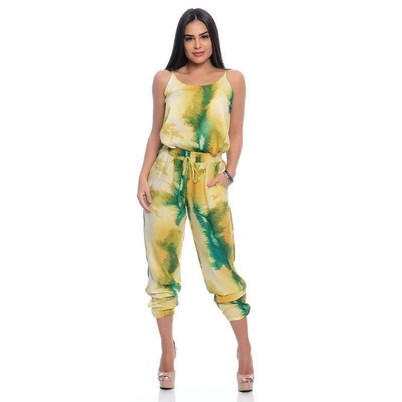 Conjunto Calça Jogger e Regata B'Bonnie Tie Dye Verde