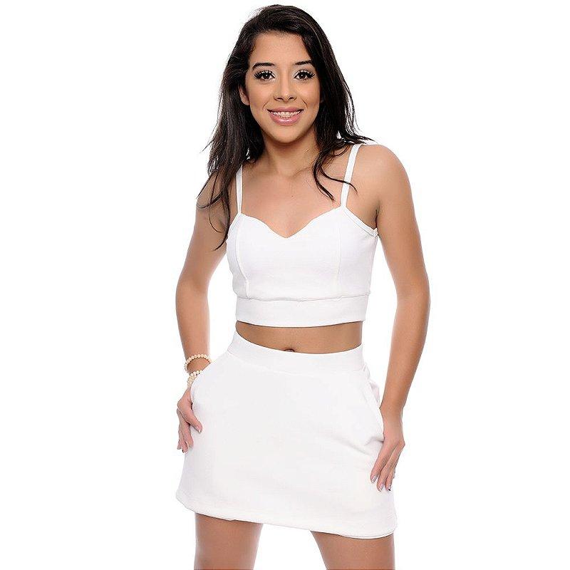 Conjunto Feminino Cropped e Shorts Saia B'Bonnie Off White