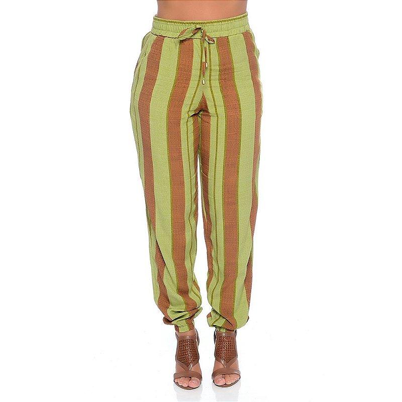 Calça Jogger Elástico na Cintura e Barra com Bolsos B'Bonnie Listrado Verde