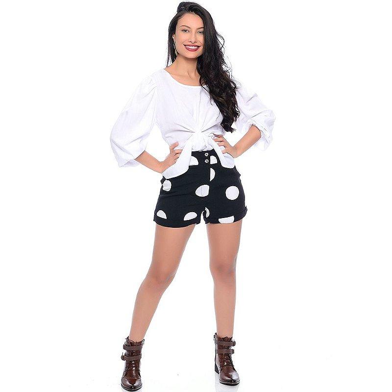 Shorts Feminino Cintura Alta Com Bolsos Barra Dobrada e Botões B'Bonnie Preto Poá
