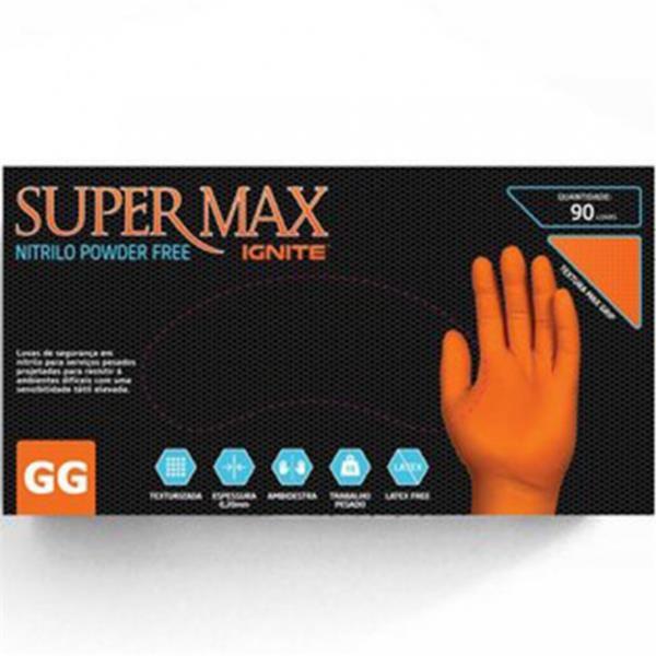 Luva Laranja Nitrilo GG - 90 Unidades - Supermax