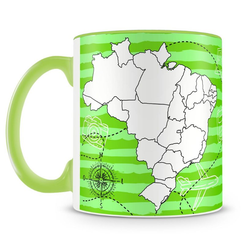 Caneca Personalizada Mapa Do Brasil Para Colorir Caneca