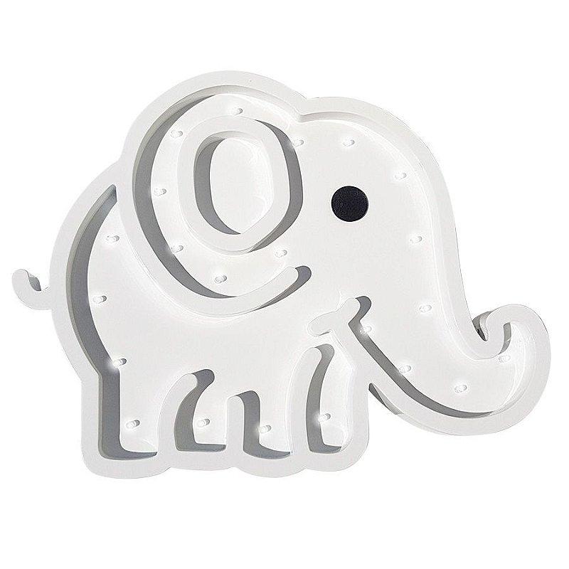 Luminoso Elefante MDF/Led Frontal para Quarto de Bebê