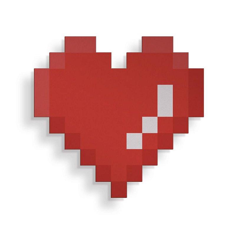 Placa Decorativa Pixel Coração