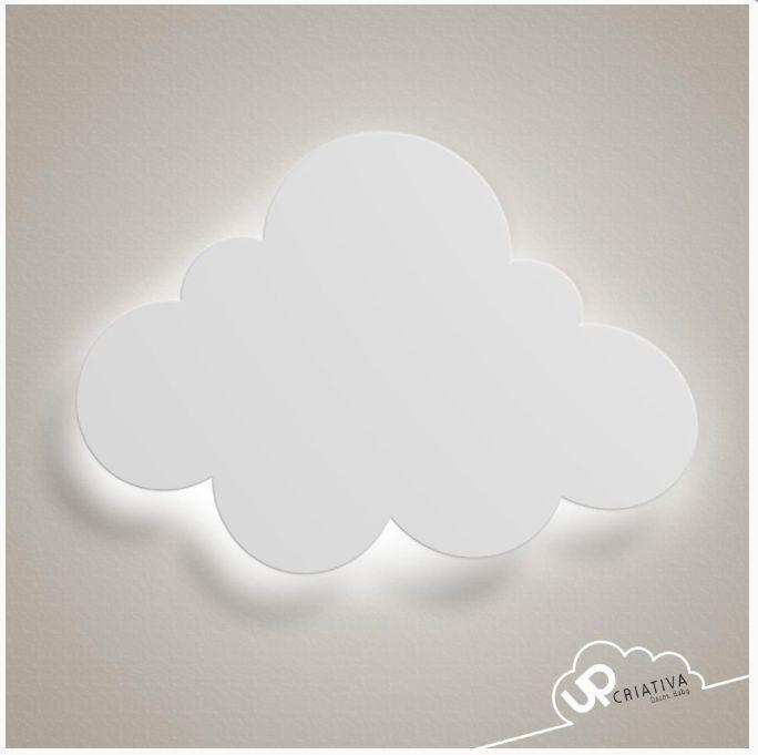 Luminária Nuvem Grande com LED para quarto de bebê