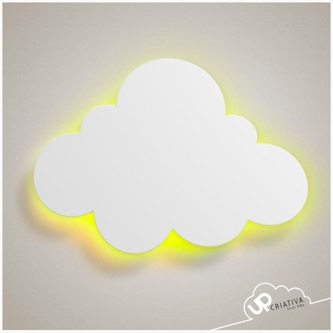 Luminária Nuvem Média com LED para quarto de bebê