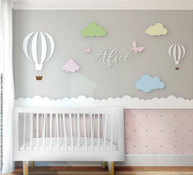 Painel decorativo para quarto de bebê - Tema Balão de Ar Candy Colors / MDF