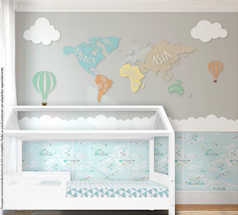 Painel decorativo para quarto de bebê - Tema Mapa Mundi / Viagem