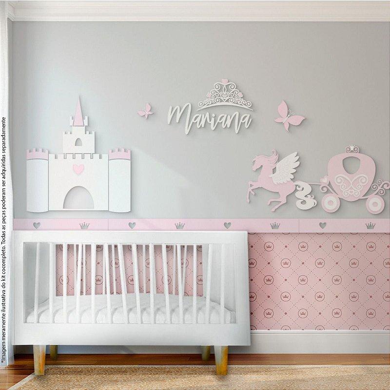 Painel decorativo para quarto de bebê - Tema Princesa Castelo